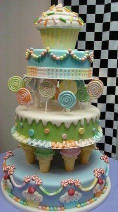 My sister, Tracy has a friend that made this cake design. It looked totally awesome! For a candy addict bride, it would be a perfect wedding cake! Pretty Cakes, Cute Cakes, Beautiful Cakes, Amazing Cakes, Deco Cupcake, Cupcake Cookies, Yummy Cupcakes, Take The Cake, Love Cake