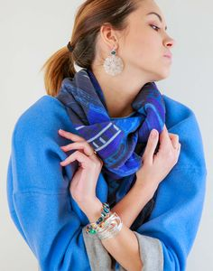 """""""Kuskovo blue"""" large wool scarf, inspired by the architecture of the summer palace Kuskovo. Jewelries by Lebijou.ru"""