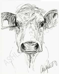 Animal Drawings Croquis de vache - This is a reproduction print of an original sketch. It is printed on on by 11 inch premium card stock and ships flat in a protected sleeve. Frame not included. Cow Drawing, Line Drawing, Drawing Sketches, Sketching, Drawing Step, Drawing Poses, Animal Sketches, Animal Drawings, Art Drawings