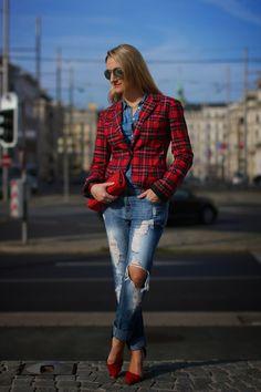 """jeans, clutch - Mango / blouse, sunglasses - H&M / blazer - New Yorker / pumps - Zara / ring, earrings - Thomas Sabo / bracelets - Swarovski, Thomas Sabo, DaWanda-Shop von """"A little fashion"""" / watch - Fossil"""