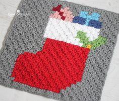 Crochet Christmas Stocking Pixel Square