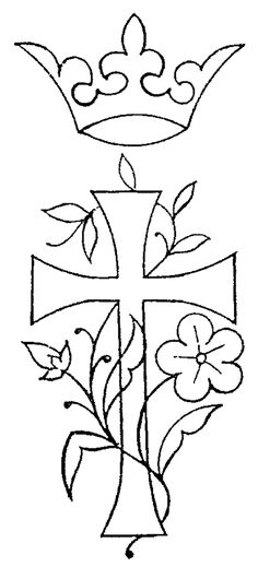 vine outlines abd designs | Free Embroidery Pattern: Cross, Crown, Flowers – Needle'nThread ...