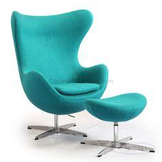 Egg Chair & Ottoman, Turquoise Bouclé Cashmere Wool