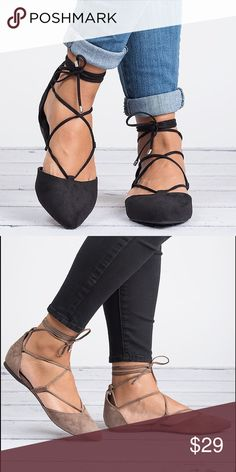 Black Lace up Balkerina Flats - Daisy Brand new without original box. Listing is for Black color. The ballerina lace up flats will give you the most casual of looks with a trendy and modern edge you can rock in any season.  Slip them on with skirts, jeans, shorts, or a day dress--there's no outfit they won't compliment!  Style features:  Pointy toe Lace up closure Shoes Flats & Loafers