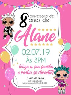 convite online LOL editar grátis Kids Background, Lol Dolls, Minnie Mouse, Party, Exercise, Templates, Education, Toys, Online Invitations