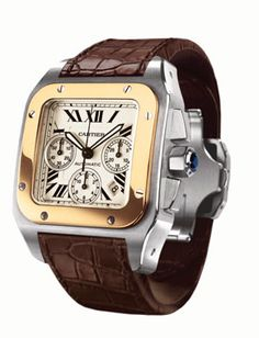 Another wrist candy - Cartier Santos 100 Watch Stylish Watches, Luxury Watches For Men, Fine Watches, Cool Watches, Men's Watches, Cartier Santos 100, Cartier Panthere, Patek Philippe, Beautiful Watches