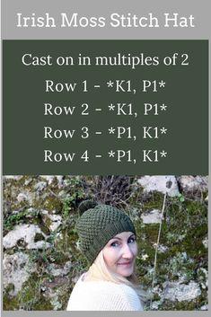 Irish Moss Stitch Hat Pattern - Make a hat with this easy and free knitting patt. knitting stitches Irish Moss Stitch Hat Pattern - Make a hat with this easy and free knitting patt. Loom Knitting Projects, Knitting Stiches, Loom Knitting Patterns, Free Knitting, Knitting Hats, Knit Hats, Free Knitted Hat Patterns, Round Loom Knitting, Free Pattern