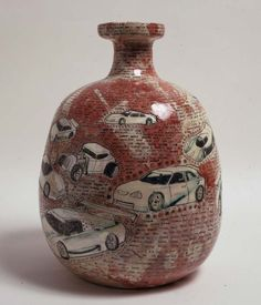 Grayson Perry: Language of Cars, 39 x 28 x 28 cm. His work incorporates art history and the art world, consumer culture, scenarios of kinky sex and allusions to violence as well as images of himself, his family and his transvestite alter ego Claire. Contemporary Ceramics, Contemporary Art, Grayson Perry Art, Pottery Marks, Pottery Designs, Pottery Ideas, China Art, Ceramic Clay, Illustration