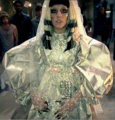 "Vintage Christian Lacroix wedding dress in satin duchesse worn by Lady Gaga for ""Judas "" video clip"