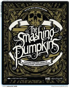 Concert poster for The Smashing Pumpkins by Joshua M. Smith of Hydro74