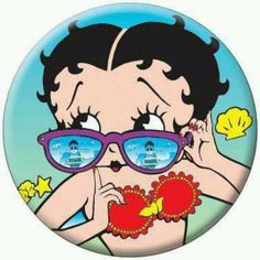 Betty Boop in sunglasses. Reflection of a hunk.