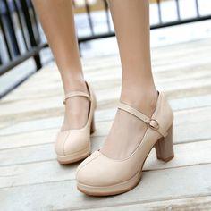 Barato Mulheres shoen 2017 confortável Sapatos Feitos À Mão Das Mulheres Saltos Robustos Bombas Dedo Do Pé Redondo sapatos de Salto Alto de Couro PU, Compro Qualidade Bombas das mulheres diretamente de fornecedores da China: