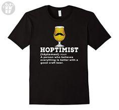 Mens Hoptimist Funny Craft Beer Mustache Suds Lover T-Shirt Medium Black - Funny shirts (*Amazon Partner-Link)