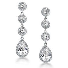 Bling Jewelry Crown Set CZ Teardrop Chandelier Earrings Rhodium Plated >>> Learn more by visiting the image link. (This is an affiliate link) #JewelryDesign