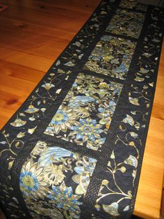 Quilted Table Runner Blue Green and Gold Asian by TahoeQuilts
