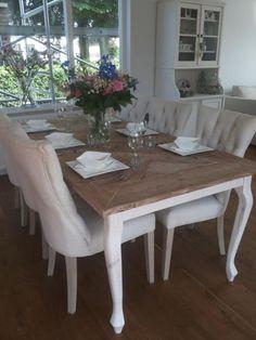 tafel maison queen anne oud steigerhout white wash onderstel, Esstisch ideennn