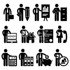 Illustration about A set of office job for business worker and employee in pictogram. Illustration of estate, professional, industrial - 21943018 Sharpie Drawings, Easy Drawings, Business Analyst, Business Meeting, Simple Business Cards, Man Icon, Vintage Logo Design, Graphic Design, Symbol Logo