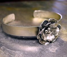 Handmade Sterling Silver Rose Cuff  by LavenderCottage on Etsy