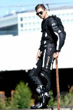 Bike Suit, Motorcycle Suit, Biker Leather, Leather Men, Motorbike Leathers, Biker Boys, Biker Gear, Men In Uniform, Sport Bikes