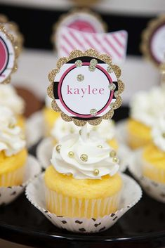 Kate Spade pool birthday party cupcakes! See more party ideas at CatchMyParty.com!