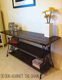 Gorgeous! Repurposed console table from antique Cast iron sewing machine base! Via FB re-scape.com