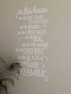 Vinyl Wall Quote Family Rules In This House removable white