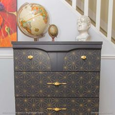Painted Dresser Drawers with Geometric and Modern Asian Pattern - Shibori Japanese Furniture Stencils - Royal Design Studio