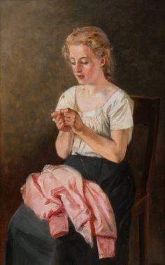 Girl Sewing - Arvid Liljelund