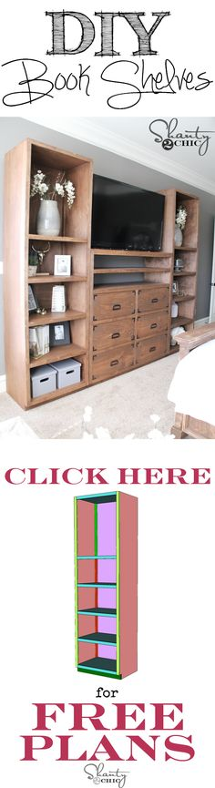 """Free Plans and how-to tutorial to build your own book shelves at <a href=""""http://www.shanty-2-chic.com"""" rel=""""nofollow"""" target=""""_blank"""">www.shanty-2-chic...</a>"""