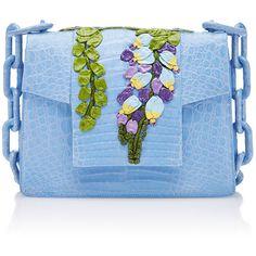 Nancy Gonzalez Floral Flap Bag (51.545 ARS) ❤ liked on Polyvore featuring bags, handbags, shoulder bags, light blue, blue purse, crocodile shoulder bag, shoulder bag purse, floral print handbags and blue handbags