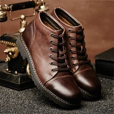 Real Leather Hombre Casual Walking Walking Walking Zapatos Hombre Breathable High top 7cb149