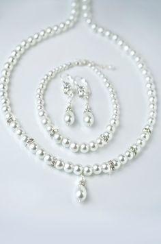 pearl bridal jewelry set, wedding jewelry set, back drop necklace, wedding…