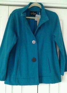 NWT Neon Buddha Jacket Coat Size L Teal Swing Eco Friendly 6513 #NeonBuddha #BasicJacket