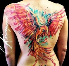 Large Watercolor Phoenix Tattoo On The Back                                                                                                                                                                                 Más