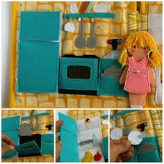 Travel dollhouse busy book with felt paper doll- kitchen