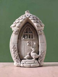 A mother gooses fairy door -- Carruth Studio: Waterville, OH Clay Fairy House, Fairy Garden Houses, Puppet Crafts, Clay Crafts, Pottery Houses, Clay Art Projects, Fairy Crafts, Clay Fairies, Clay Houses