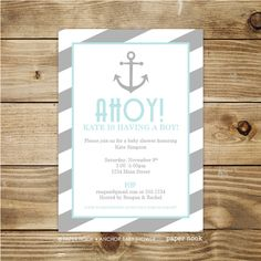 PRINTABLE Anchor Baby Shower Invitation by papernook.com