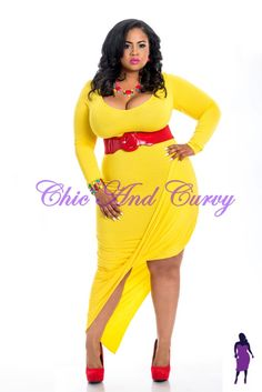 New Plus Size Long Sleeve Dress with Gather and Drop Effect in Yellow  available at: http://www.chicandcurvy.com/bodycons/product/9733-new-plus-size-long-sleeve-dress-with-gather-and-drop-effect-in-yellow-1x-2x-3x  Model: Janna Plus Model Photographer: Lesley Pedraza Photography MUA: Make Me Blush - Makeup By Jillian Bianca Hair: Tiffany Brooks