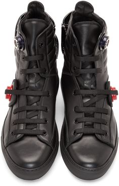 Raf Simons Black Leather Heel Pocket High-Top Sneakers