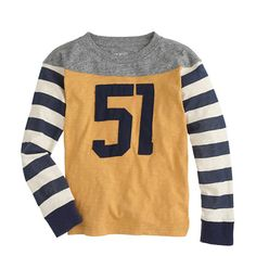 Crew boys' football tee in birmingham yellow. Boys Sweaters, Boys T Shirts, Bohemian Style Men, Vintage Jerseys, Football Boys, J Crew Men, Kids Fashion Boy, Shirt Shop, Boy Outfits