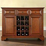 Crosley Furniture LaFayette Buffet Server/Sideboard Cabinet with Wine Storage, Classic Cherry