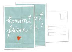 Einladungskarten - 52 Einladungskarten Kommt feiern! TÜRKIS Postkarte - ein Designerstück von Eine-der-Guten-Illustration bei DaWanda