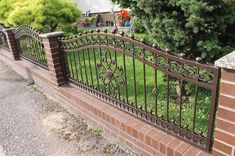 Brick Fence, Front Yard Fence, Metal Fence, Fence Gate Design, Balcony Railing Design, Brick Wall Gardens, Front Wall Design, Iron Garden Gates, Gates And Railings