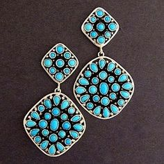 Navajo Sterling Silver Sleeping Beauty Turquoise Clusters Dangle Earrings