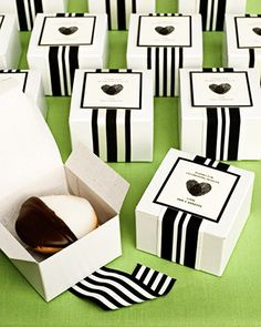 Tie up black and white cookies in striped ribbons | Brides.com