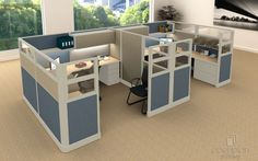 2 Person 8u0027 X 8u0027 Cubicles Tiled Fabric With Double Glass. Http: · Office  Cubicle DesignReal ...