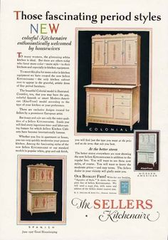1927 ad mentions the Klear Front design like our Sellers Cabinet