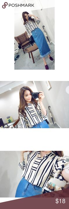 CHUU KOREAN Open placket striped shirt OS CHUU KOREAN BRAND Open placket striped shirt  Condition: Like new, worn once only Color: Camel/Black Size: One Size (See Measurement) Retail Price US$35 RETAIL SOLD OUT!  Product Measurements: Shoulder 59cm, Bust 127cm, Sleeve 44cm, Total Length 70cm  Listed under Acne Studios just for more exposure (: Acne Tops Blouses