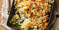 This Spanakopita pasta bake topping takes the traditional Greek spinach pie as its inspiration, using crunchy ribbons of filo pastry. You can use all kinds of combinations to top your bakes; use breadcrumbs, finely chopped nuts, crushed corn chips and even potato chips!