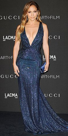The Year's Best Dresses | JENNIFER LOPEZ | She wore an array of skin-baring, showstopping gowns this year, but none dazzled quite like this plunging, midnight-blue Gucci Première design at the LACMA Art + Film Gala in November.